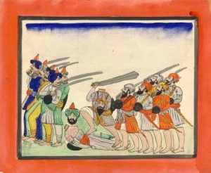 Historic-Painting-of-Sikhs-Defending-Against-Muslim-Afghan-Forces-487x400