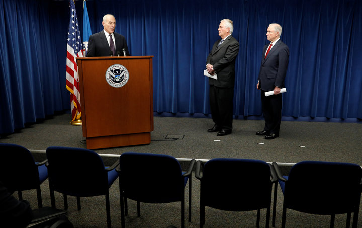Homeland Security Secretary John Kelly (L), Secretary of State Rex Tillerson (C) and Attorney General Jeff Sessions (R), deliver remarks on issues related to visas and travel after U.S. President Donald Trump signed a new travel ban order in Washington, U.S., March 6, 2017. REUTERS/Kevin Lamarque     TPX IMAGES OF THE DAY